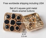 Square jacket  buttons, Black enamel square buttons. Free worldwide shipping (2) (3) (4) (5) (6)